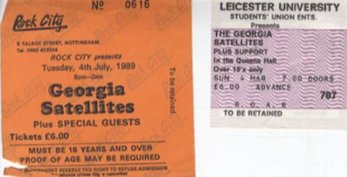 Georgia Satellites Set Of 2 Used Concert Tickets UK concert ticket CONCERT TICKETS
