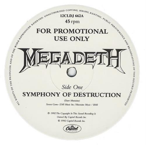 Megadeth Symphony Of Destruction 1992 UK 12 vinyl 12CLDJ662