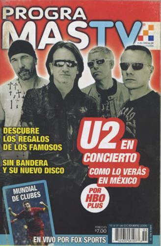 U2 Progra Mas TV 2005 Mexican memorabilia TV GUIDE