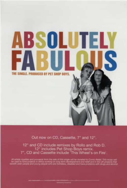 Pet Shop Boys Absolutely Fabulous 1994 UK poster 20 X 13