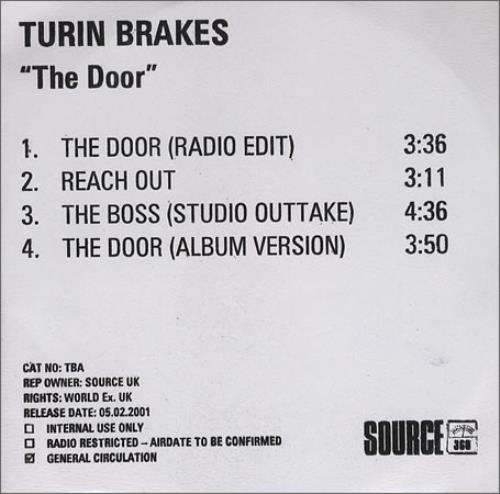 Turin Brakes The Door 2001 UK CD-R acetate CD ACETATE