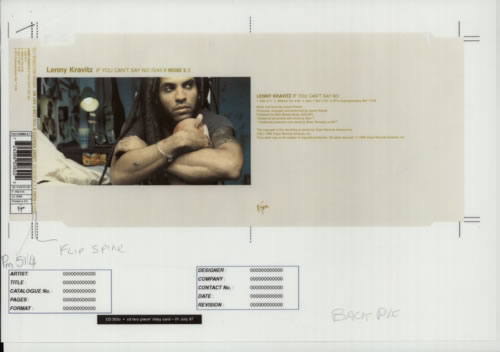 Lenny Kravitz Collection Of Proof Artwork 1998 USA artwork PROOF ARTWORK