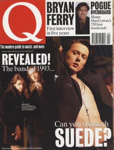 Image of Suede Q Magazine 1993 UK magazine FEBRUARY 1993