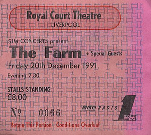 The Farm Set Of 2 Tickets 1991 UK concert ticket 2 USED TICKETS