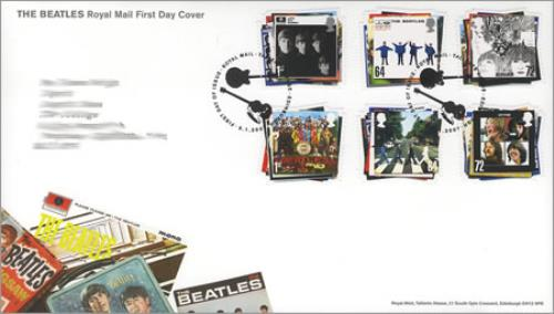 Image of The Beatles First Day Cover - Philatelic Bureau Postmark - Six Stamps 2007 UK memorabilia FIRST DAY COVER