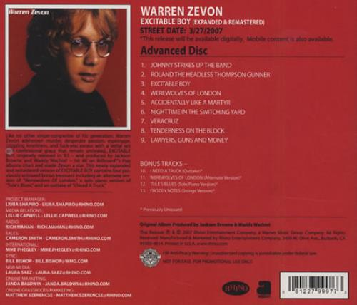 Image of Warren Zevon Expanded & Remastered 2007 USA CD-R acetate CDR ACETATE