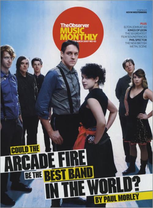 Image of Arcade Fire Observer Music Monthly 2007 UK magazine