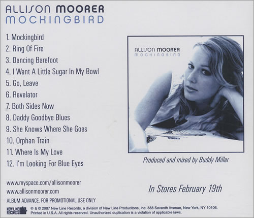 Allison Moorer Mockingbird 2007 USA CDR acetate CDR ACETATE