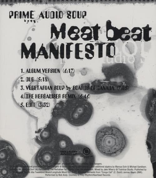 Meat Beat Manifesto Prime Audio Soup 1998 USA CD single INT5P6468