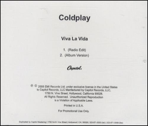 Coldplay Viva La Vida 2008 USA CDR acetate CDR ACETATE