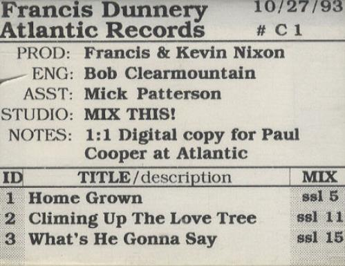 Francis Dunnery Francis Dunnery 1993 USA digital audio tape DIGITAL AUDIO TAPE