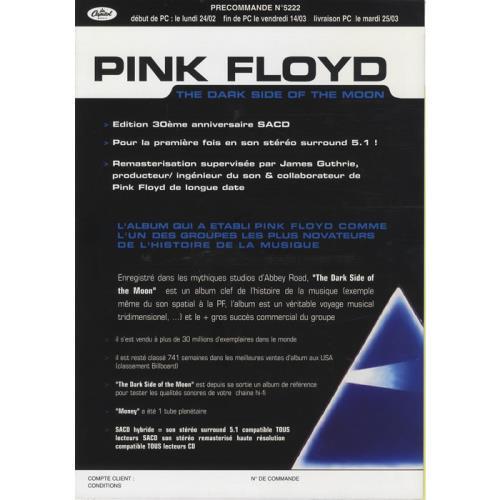 Pink Floyd The Dark Side Of The Moon 2003 French handbill SALES PRESENTER