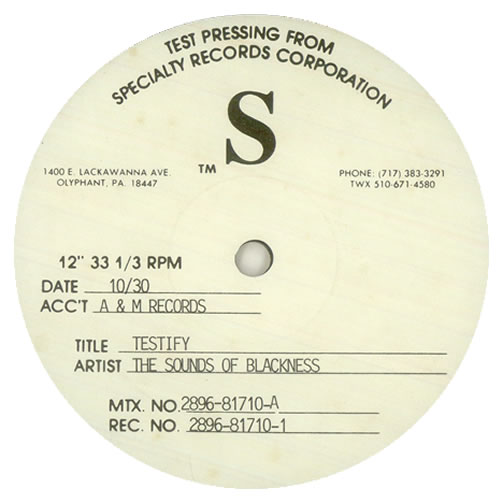 Sounds Of Blackness - Testify - Test Pressing