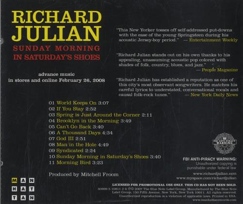 Richard Julian Sunday Morning In Saturdays Shoes 2008 USA CD album 5099951081126