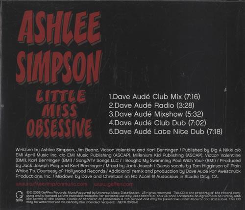 Ashlee Simpson Little Miss Obsessive 2008 USA CD single GEFR-12435-2