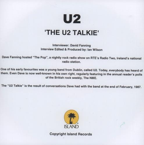 U2 The U2 Talkie 2009 UK CDR acetate CDR