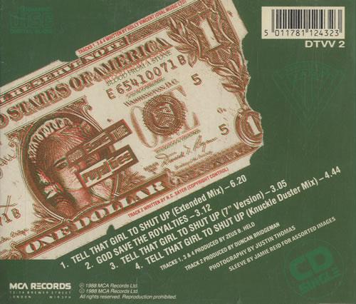 Transvision Vamp Tell That Girl To Shut Up 1988 UK CD single DTVV2