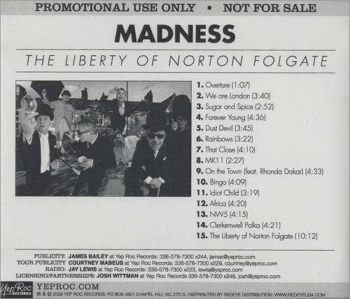 Madness The Liberty Of Norton Folgate 2009 USA CD album CDYEP2211