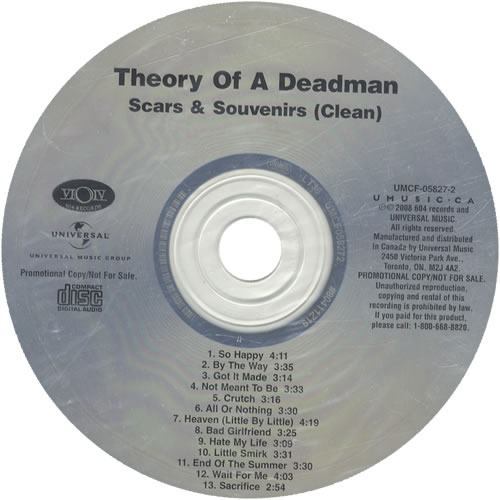 Theory Of A Deadman Scars & Souvenirs Clean 2008 Canadian CD album UMCF058272