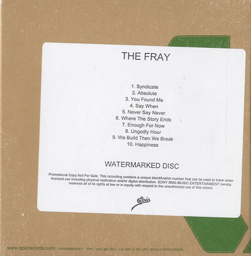 The Fray The Fray 2009 USA CDR acetate CDR ACETATE