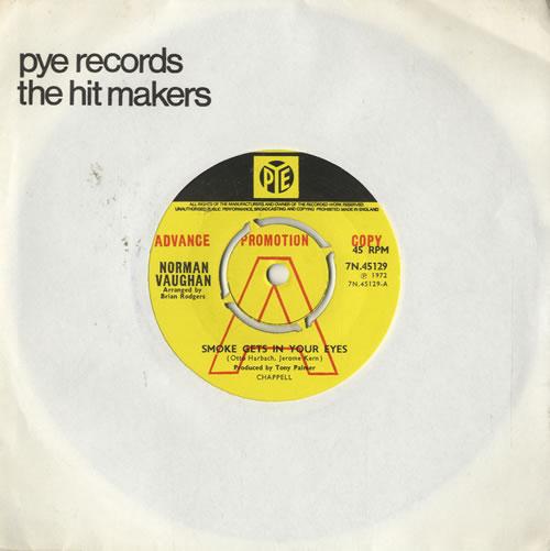 """Norman Vaughan Smoke Gets In Your Eyes 1972 UK 7"""" vinyl 7N.45129"""