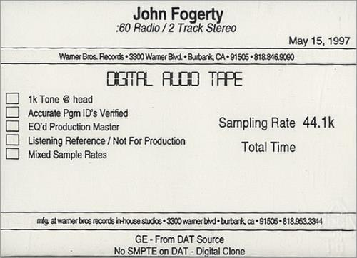 John Fogerty Blue Moon Swamp  Radio Spots 1997 USA digital audio tape DIGITAL AUDIO TAPE