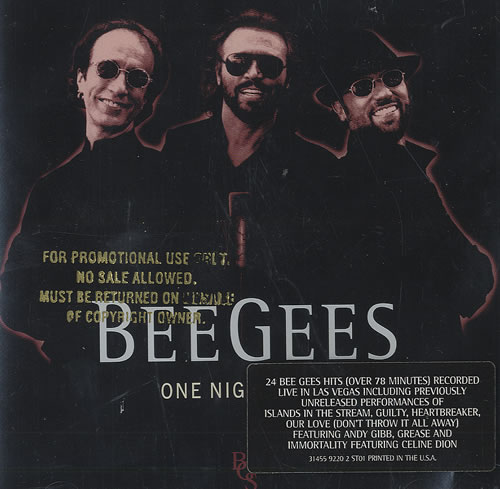 Bee Gees One Night Only  Gold promo stamped 1998 USA CD album 314559220