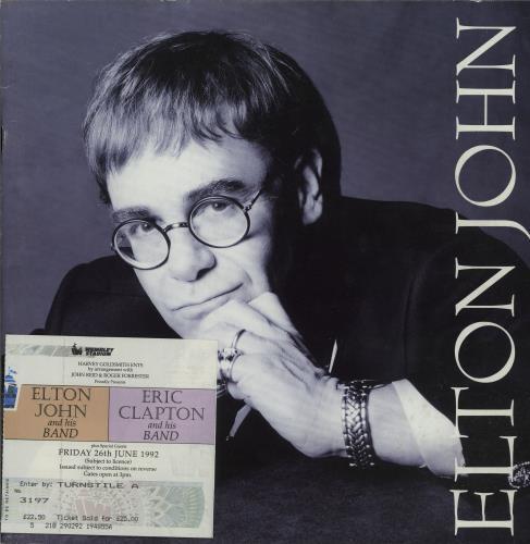 Elton John 1993 Tour  Ticket Stub 1993 UK tour programme TOUR PROGRAMME