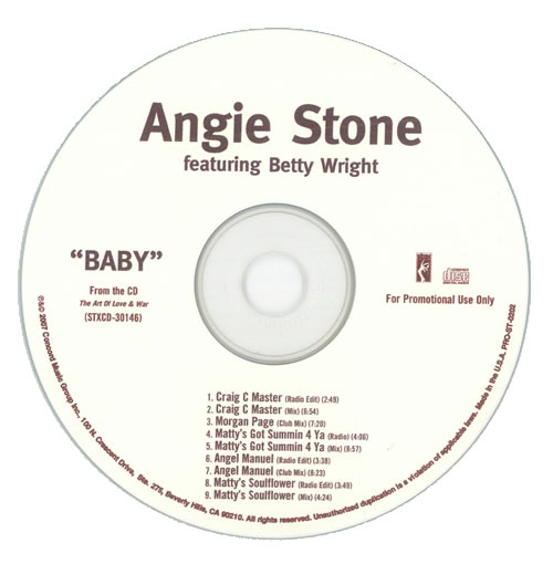 Angie Stone Baby 2007 USA CD single PROST0202