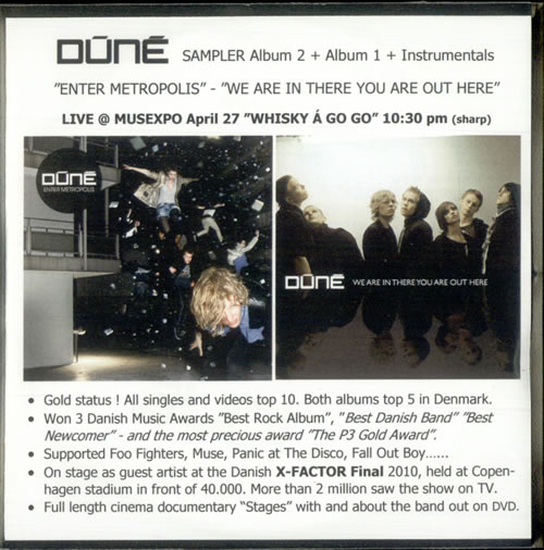Dune (Danish Indie Rock Band) Sampler 2009 USA CDR acetate CDRACETATE