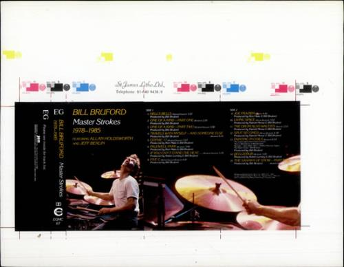 Bill Bruford Master Strokes  Cassette Artwork 1986 UK artwork PROOF ARTWORK