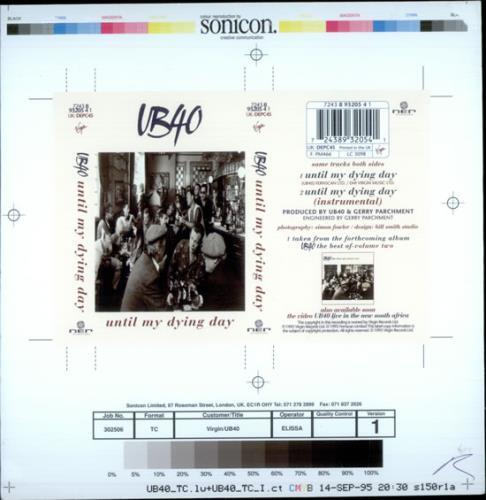 UB40 Until My Dying Day 1995 UK artwork PROOF ARTWORK