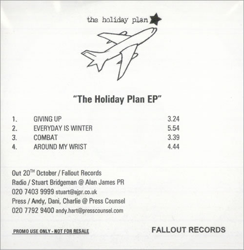 The Holiday Plan The Holiday Plan EP UK CDR acetate CDR ACETATE