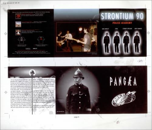Strontium 90 Police Academy  Sheet Artwork 1997 UK artwork PROOF ARTWORK