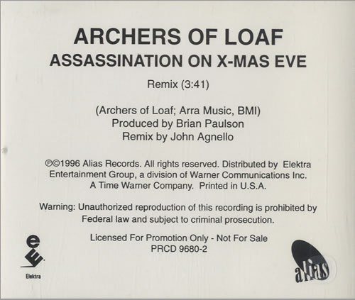 Archers Of Loaf Assassination On XMas Eve 1996 USA CD single PRCD96802