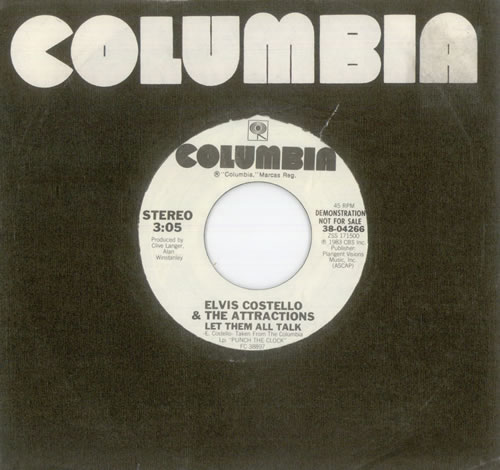 "Image of Elvis Costello Let Them All Talk 1983 UK 7"" vinyl 3804266"