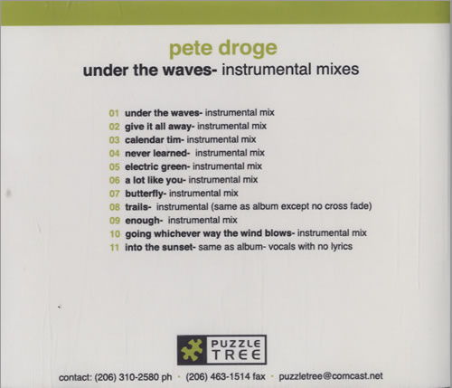 Image of Pete Droge Under The Waves - Instrumental Mixes 2005 USA CD-R acetate CDR ACETATE