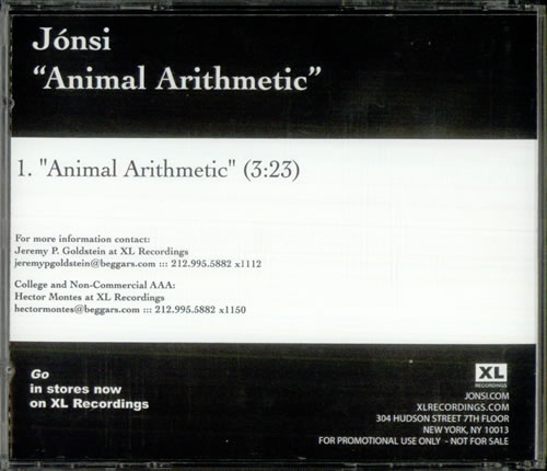 Jonsi Animal Artithmetic 2010 USA CD single Q9XL5842