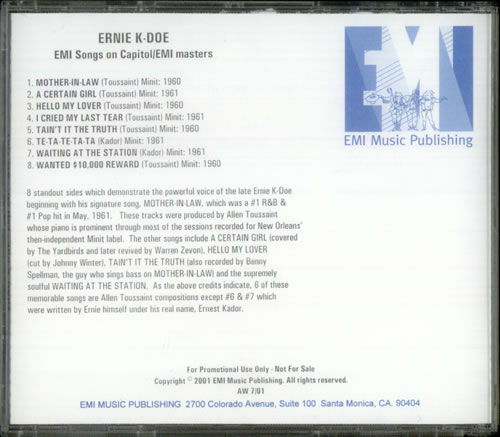 Ernie K-Doe EMI Songs On Capitol/EMI Masters 2001 USA CD-R acetate CDR ACETATE