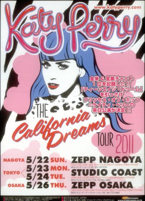 Katy Perry The California Dreams Tour 2011 Japanese handbill HANDBILL  FLYER