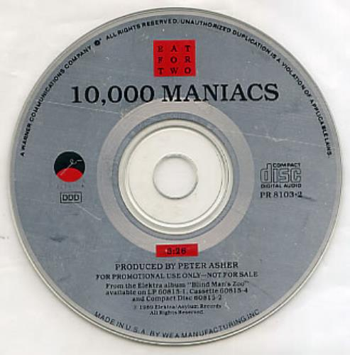 Image of 10,000 Maniacs Eat For Two 1989 USA CD single PR8103-2