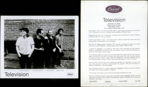 Television Television 1992 USA press pack PRESS PACK