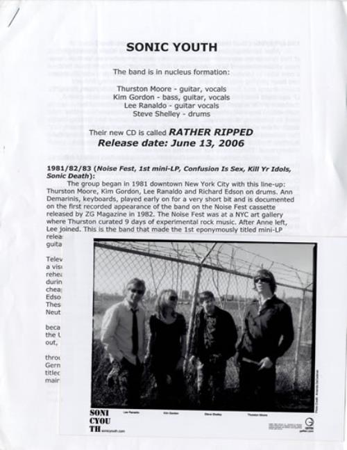 Sonic Youth - Rather Ripped Press Pack