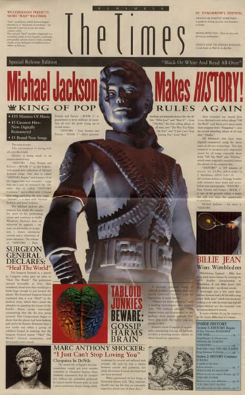 Michael Jackson Remember The Times  Newspaper Supplement 1995 Japanese handbill THE TIMES