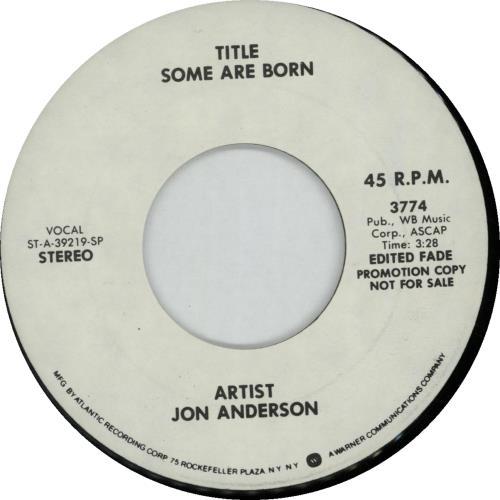 Jon Anderson Some Are Born 1980 USA 7 vinyl 3774