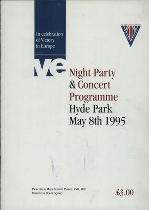 VariousFilm Radio Theatre & TV In Celebration Of Victory In Europe 1995 UK tour programme EVENT PROGRAMME