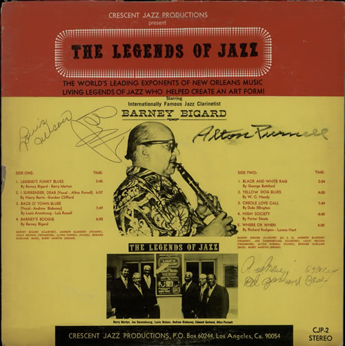 The Legends Of Jazz With Special Guest Barney Bigard - Autographed 1974 USA vinyl LP CJP-2