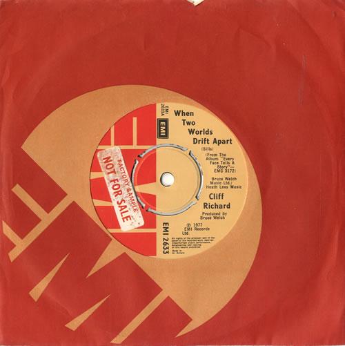 Cliff Richard When Two Worlds Drift Apart  Factory Sample 1977 UK 7 vinyl EMI2633
