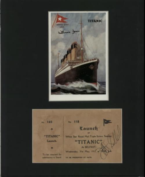 RMS Titanic White Star Replica Postcard & Launch Ticket  Autographed 1998 UK memorabilia SIGNED MEMORABILIA