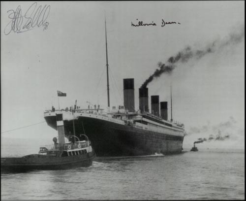 RMS Titanic Setting Sail  Autographed 1998 UK photograph SIGNED PHOTO